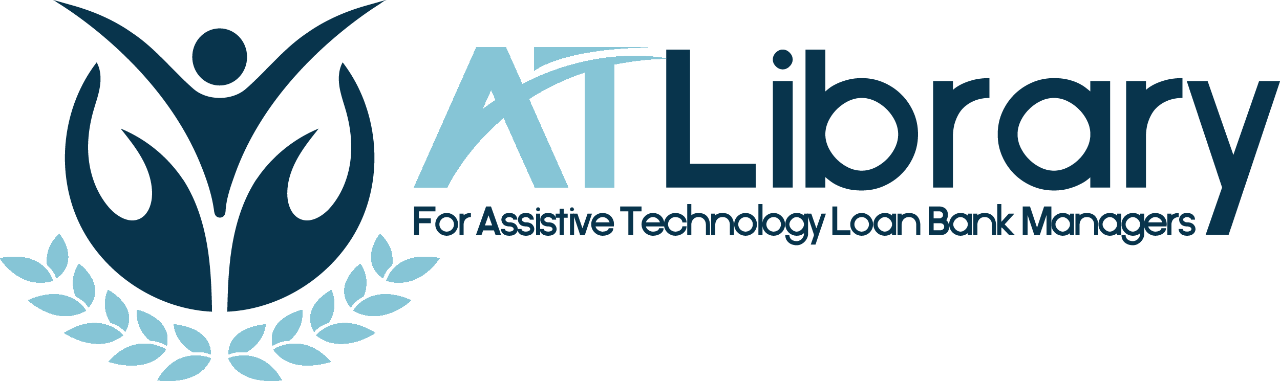 "AT Library Logo, with text ""ATLibrary, For Assistive Technology Loan Bank Managers"""